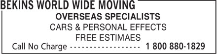 Bekins World Wide Moving (1-800-880-1829) - Display Ad - OVERSEAS SPECIALISTS CARS & PERSONAL EFFECTS FREE ESTIMAES