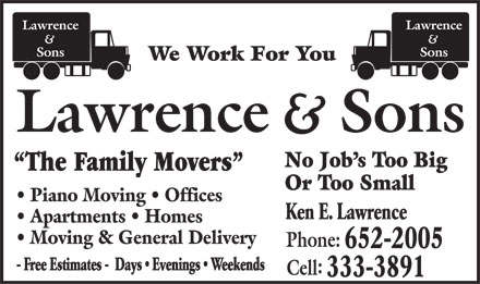 Lawrence and Sons (506-652-2005) - Display Ad