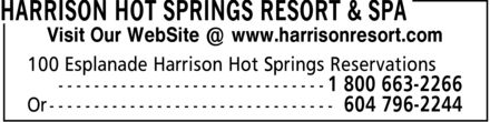 Harrison Hot Springs Resort & Spa (604-796-2244) - Display Ad - Visit Our WebSite @ www.harrisonresort.com