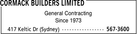 Cormack Builders Limited (902-567-3600) - Annonce illustrée - General Contracting Since 1973 General Contracting Since 1973