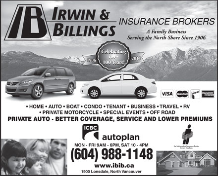 Irwin & Billings Insurance (604-990-1957) - Annonce illustrée