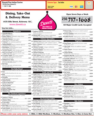Dawett Fine Indian Cuisine (250-980-0725) - Menu