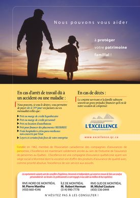 L'Excellence Compagnie d'Assurance-Vie (514-327-0020) - Annonce illustr&eacute;e