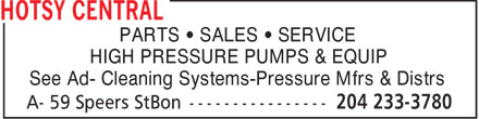 Hotsy Central (204-233-3780) - Annonce illustrée - PARTS • SALES • SERVICE HIGH PRESSURE PUMPS & EQUIP See Ad- Cleaning Systems-Pressure Mfrs & Distrs
