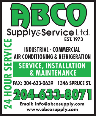 ABCO Supply & Service Ltd (204-633-8071) - Display Ad - FAX: 204-633-0639   1346 SPRUCE ST. 204-633-8071  FAX: 204-633-0639   1346 SPRUCE ST. 204-633-8071