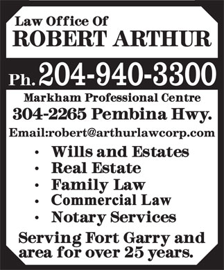 Arthur Robert Law Office (204-940-3300) - Annonce illustrée - 204-940-3300 204-940-3300