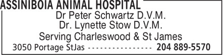 Assiniboia Animal Hospital (204-889-5570) - Display Ad - Dr Peter Schwartz D.V.M. Dr. Lynette Stow D.V.M. Serving Charleswood & St James