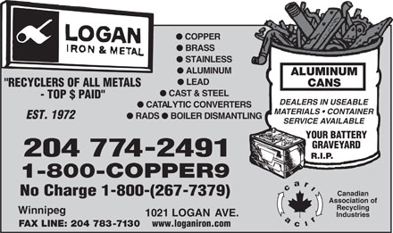 "Logan Iron and Metal (204-774-2491) - Annonce illustrée - l COPPER l BRASS l STAINLESS l ALUMINUM ALUMINUM l LEAD CANS ""RECYCLERS OF ALL METALS l CAST & STEEL - TOP $ PAID"" DEALERS IN USEABLE l CATALYTIC CONVERTERS MATERIALS   CONTAINER EST. 1972 l RADS l BOILER DISMANTLING SERVICE AVAILABLE YOUR BATTERY GRAVEYARD 204 774-2491 R.I.P. 1-800-COPPER9 No Charge 1-800-(267-7379) Canadian Association of Recycling Winnipeg 1021 LOGAN AVE. Industries FAX LINE: 204 783-7130 www.loganiron.com  l COPPER l BRASS l STAINLESS l ALUMINUM ALUMINUM l LEAD CANS ""RECYCLERS OF ALL METALS l CAST & STEEL - TOP $ PAID"" DEALERS IN USEABLE l CATALYTIC CONVERTERS MATERIALS   CONTAINER EST. 1972 l RADS l BOILER DISMANTLING SERVICE AVAILABLE YOUR BATTERY GRAVEYARD 204 774-2491 R.I.P. 1-800-COPPER9 No Charge 1-800-(267-7379) Canadian Association of Recycling Winnipeg 1021 LOGAN AVE. Industries FAX LINE: 204 783-7130 www.loganiron.com"
