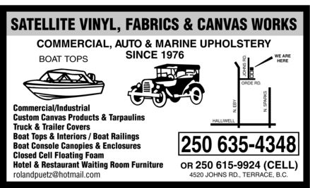Satellite Vinyl Fabrics & Canvas Works (250-635-4348) - Display Ad