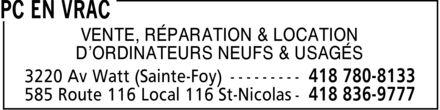 PC en Vrac (418-780-8133) - Annonce illustrée======= - VENTE, RÉPARATION & LOCATION D¿ORDINATEURS NEUFS & USAGÉS