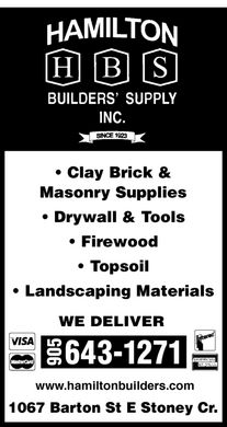 Hamilton Builders Supply Inc (905-643-1271) - Annonce illustrée