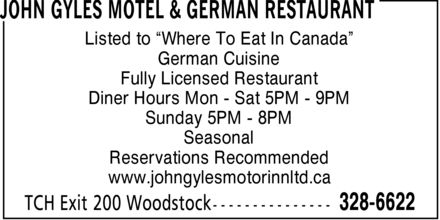 John Gyles Motel & German Restaurant (506-328-6622) - Annonce illustrée