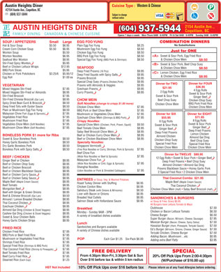 Austin Heights Diner Ltd (604-937-5944) - Menu