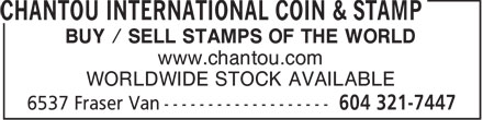 Chantou International Coin & Stamp (604-321-7447) - Annonce illustrée - BUY / SELL STAMPS OF THE WORLD www.chantou.com WORLDWIDE STOCK AVAILABLE  BUY / SELL STAMPS OF THE WORLD www.chantou.com WORLDWIDE STOCK AVAILABLE  BUY / SELL STAMPS OF THE WORLD www.chantou.com WORLDWIDE STOCK AVAILABLE  BUY / SELL STAMPS OF THE WORLD www.chantou.com WORLDWIDE STOCK AVAILABLE  BUY / SELL STAMPS OF THE WORLD www.chantou.com WORLDWIDE STOCK AVAILABLE