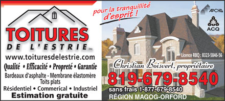 Toitures De L'Estrie Inc (819-416-1596) - Display Ad