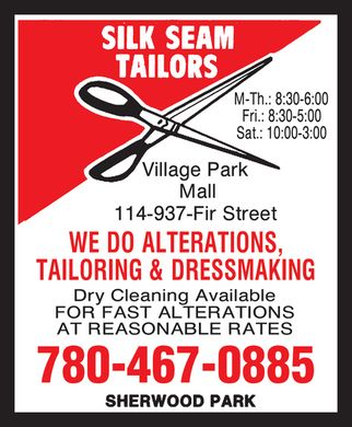 Silk Seam Tailors (780-467-0885) - Annonce illustr&eacute;e - 780-467-0885