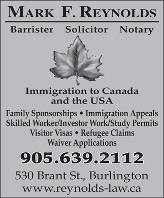Reynolds Mark Barrister &amp; Solicitor (905-639-2112) - Annonce illustr&eacute;e
