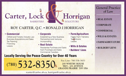 Carter Lock & Horrigan (780-532-8350) - Annonce illustrée