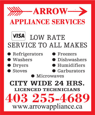 Arrow Appliance Services (403-255-4689) - Annonce illustrée - 403 255-4689