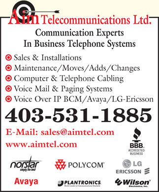 Aim Telecommunications Ltd (403-531-1885) - Annonce illustr&eacute;e