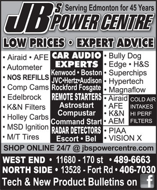 JB's Power Centre Ltd (780-489-6663) - Annonce illustr&eacute;e