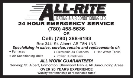 All-Rite Heating & Air Conditioning Ltd (780-458-5636) - Annonce illustrée