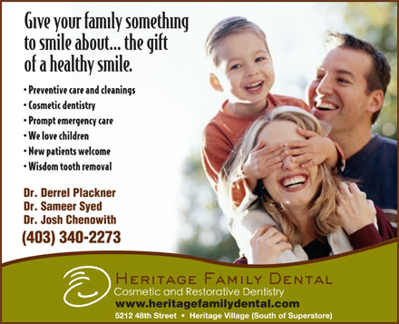 Heritage Family Dental (403-340-2273) - Annonce illustrée - (403) 340-2273 www.heritagefamilydental.com