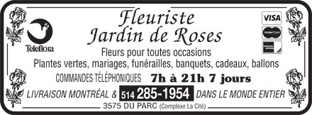 Jardin de Rose (514-285-1954) - Display Ad