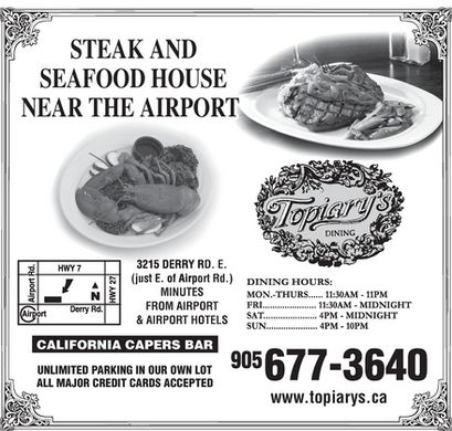 Topiary's Steak & Seafood (905-677-3640) - Annonce illustrée