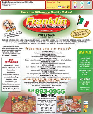 Franklin Pizzeria And Restaurant (At Franklin) (519-893-0955) - Menu
