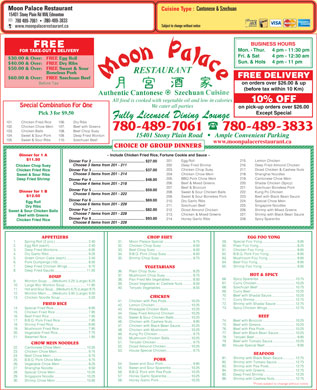 Moon Palace Restaurant (780-401-9673) - Menu