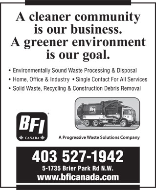 BFI Canada Inc (403-527-1942) - Display Ad