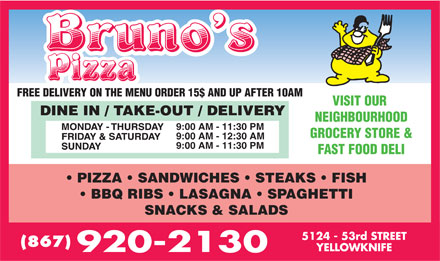 Bruno's Pizza (867-920-2130) - Display Ad