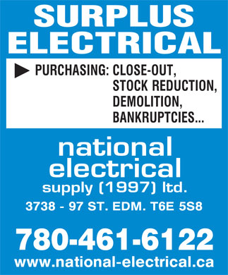 National Electrical Supply (1997) Ltd (780-461-6122) - Display Ad