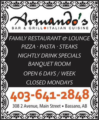 Armando's Bar & Grill (403-641-2848) - Display Ad
