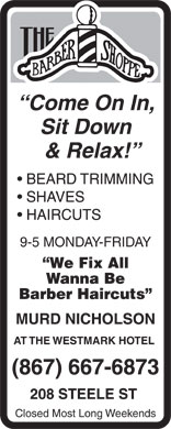The Barber Shoppe (867-667-6873) - Display Ad