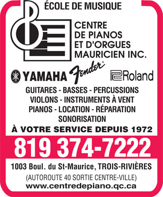 Centre De Pianos Mauricien Inc (819-374-7222) - Display Ad