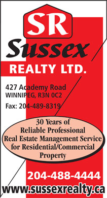 Sussex Realty Ltd (204-488-4444) - Annonce illustr&eacute;e