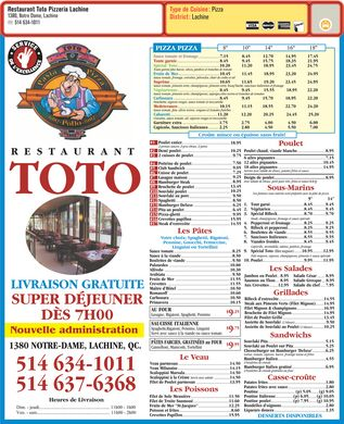 Restaurant Toto Pizzeria Lachine (514-634-1011) - Menu