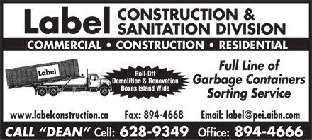 Label Construction & Sanitation Division (902-894-4666) - Display Ad