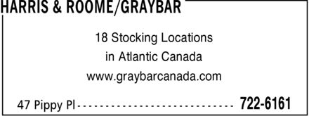 Harris &amp; Roome/Graybar (709-722-6161) - Display Ad - 18 Stocking Locations in Atlantic Canada www.graybarcanada.com