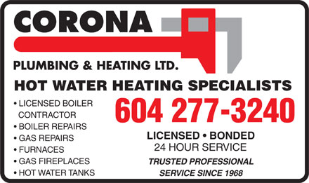 Corona Plumbing & Heating Ltd (604-277-3240) - Annonce illustrée