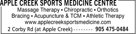 Applecreek Sports Medicine Centre (905-475-0484) - Annonce illustrée