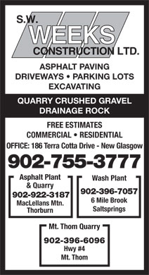 Weeks S W Const Ltd (902-755-3777) - Display Ad - ASPHALT PAVING DRIVEWAYS   PARKING LOTS EXCAVATING QUARRY CRUSHED GRAVEL DRAINAGE ROCK FREE ESTIMATES COMMERCIAL   RESIDENTIAL OFFICE: 186 Terra Cotta Drive - New Glasgow 902-755-3777 Asphalt Plant Wash Plant & Quarry 902-396-7057 902-922-3187 6 Mile Brook MacLellans Mtn. Saltsprings Thorburn Mt. Thom Quarry 902-396-6096 Hwy #4 Mt. Thom