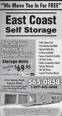 East Coast Self-Storage (1-888-201-6445) - Display Ad