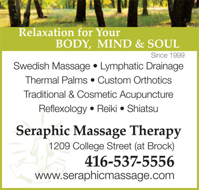 Seraphic Massage Therapy (416-537-5556) - Annonce illustrée
