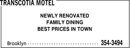 Transcotia Motel (902-354-3494) - Annonce illustrée - NEWLY RENOVATED FAMILY DINING BEST PRICES IN TOWN