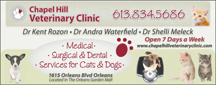 Chapel Hill Veterinary Clinic (613-604-0208) - Annonce illustrée - www.chapelhillveterinaryclinic.com