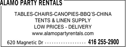 Alamo Party Rentals (416-255-2900) - Annonce illustrée - TABLES-CHAIRS-CANOPIES-BBQ¿S-CHINA TENTS & LINEN SUPPLY LOW PRICES DELIVERY www.alamopartyrentals.com