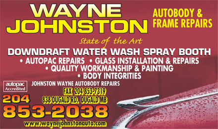 Johnston Wayne Autobody Repairs (204-853-2038) - Annonce illustrée